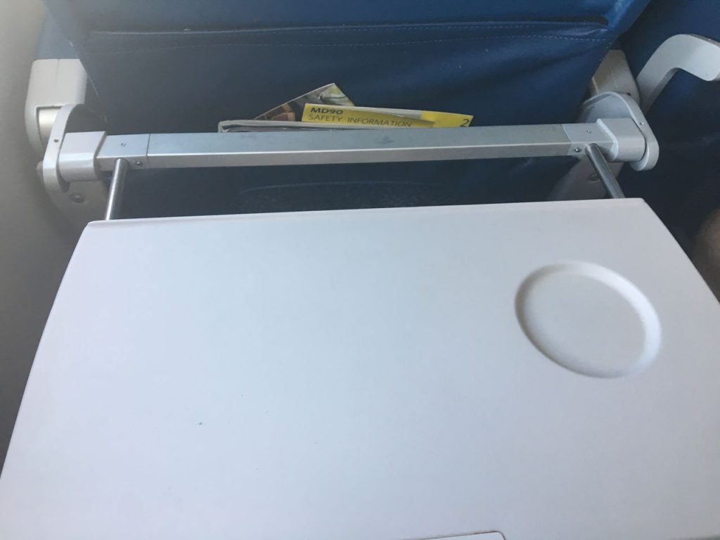 Delta Air Lines Fleet McDonnell Douglas MD-90-30 (M90) Economy Class Standard Seats Extendable tray table