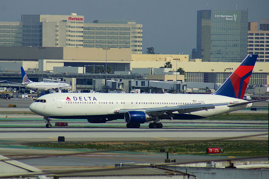 Delta Air Lines Fleet N130DL Boeing 767-332 cn:serial number- 24080:216 at LAX arriving from MSP