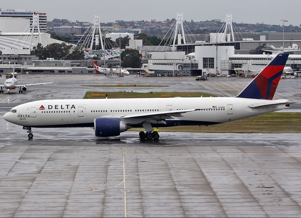 Delta Air Lines Fleet N701DN The Delta Spirit, Boeing 777-200LR at Sydney (Kingsford Smith) Airport Australia