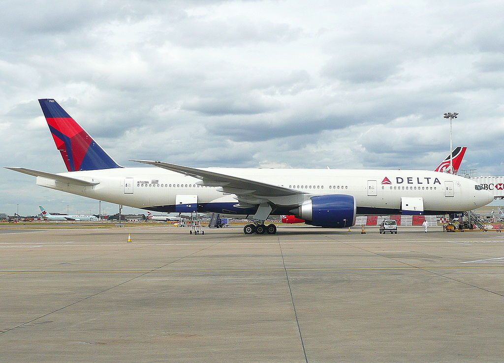 Delta Air Lines Fleet N702DN Boeing 777-200LR at Heathrow Airport (IATA- LHR, ICAO- EGLL)