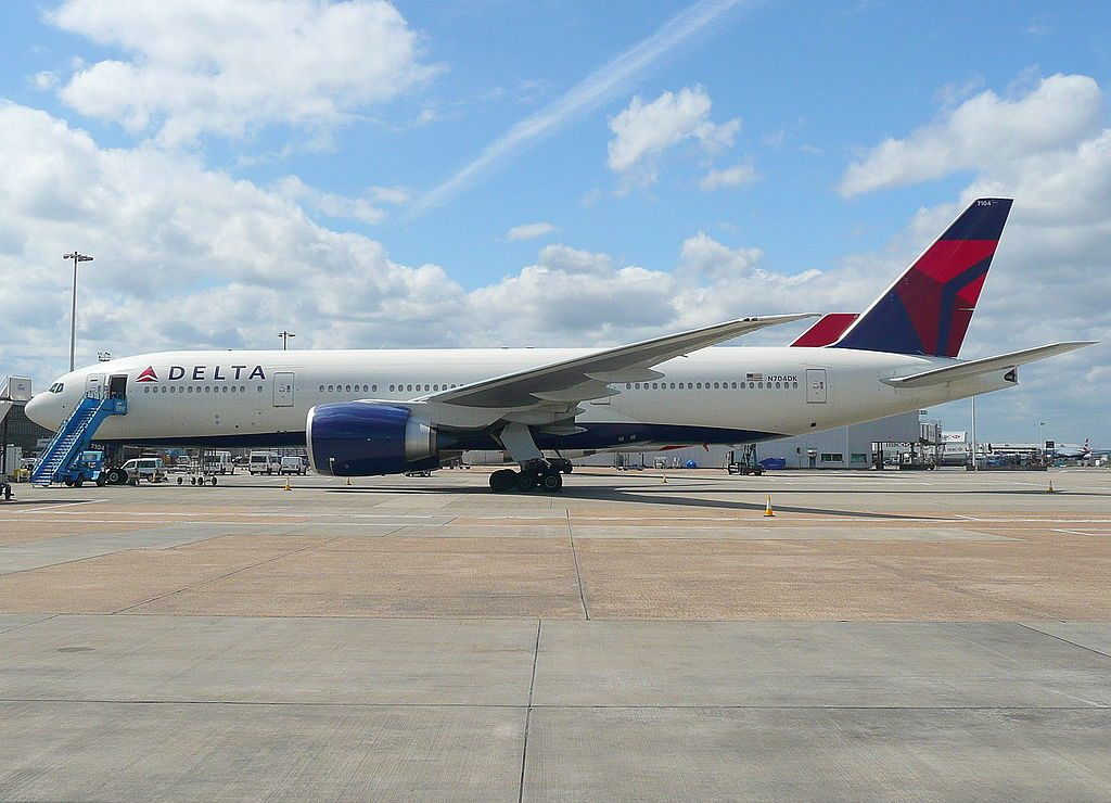 Delta Air Lines Fleet N704DK Boeing 777-232(LR) cn:serial number- 29739:772 at Heathrow Airport (IATA- LHR, ICAO- EGLL)
