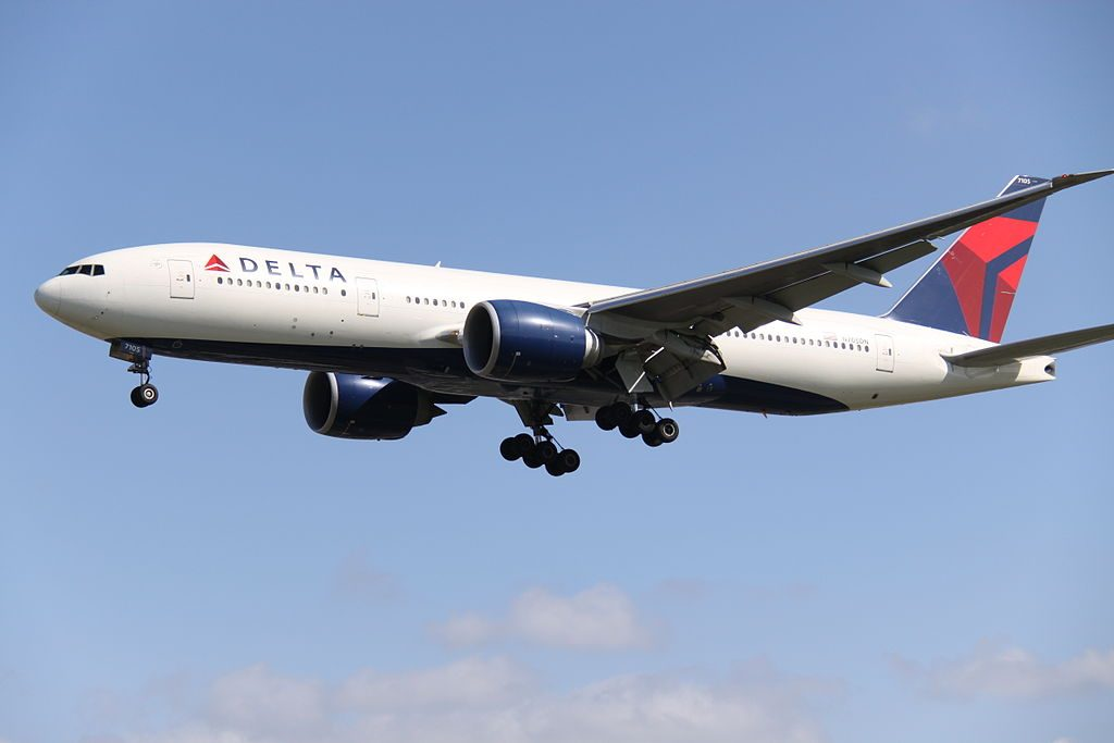 Delta Air Lines Fleet N705DN Boeing 777-200LR at Heathrow Airport (IATA- LHR, ICAO- EGLL)