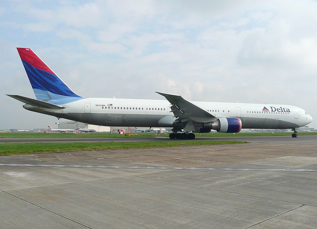 Delta Air Lines Fleet N826MH Boeing 767-432ER cn:serial number- 29713:769 taxying for takeoff at Heathrow Airport