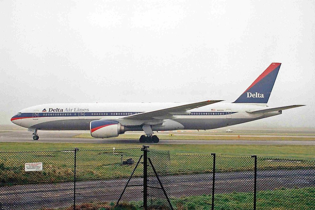 Delta Air Lines Fleet N860DA (old retro livery colors) Boeing 777-232(ER) cn:serial number- 29951:202 at Manchester Airport (MAN)