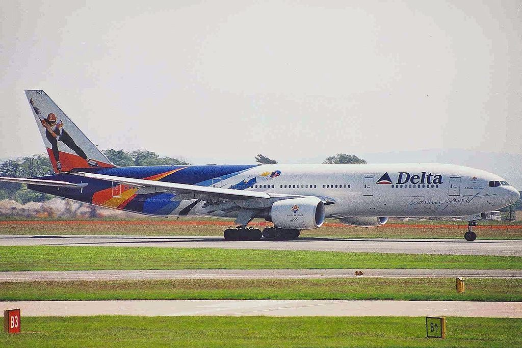 Delta Air Lines Fleet N864DA Boeing 777-232(ER) Special Livery Colors 'Soaring Spirit' winter Olympics, Salt Lake City 2002 logojet at Manchester Airport