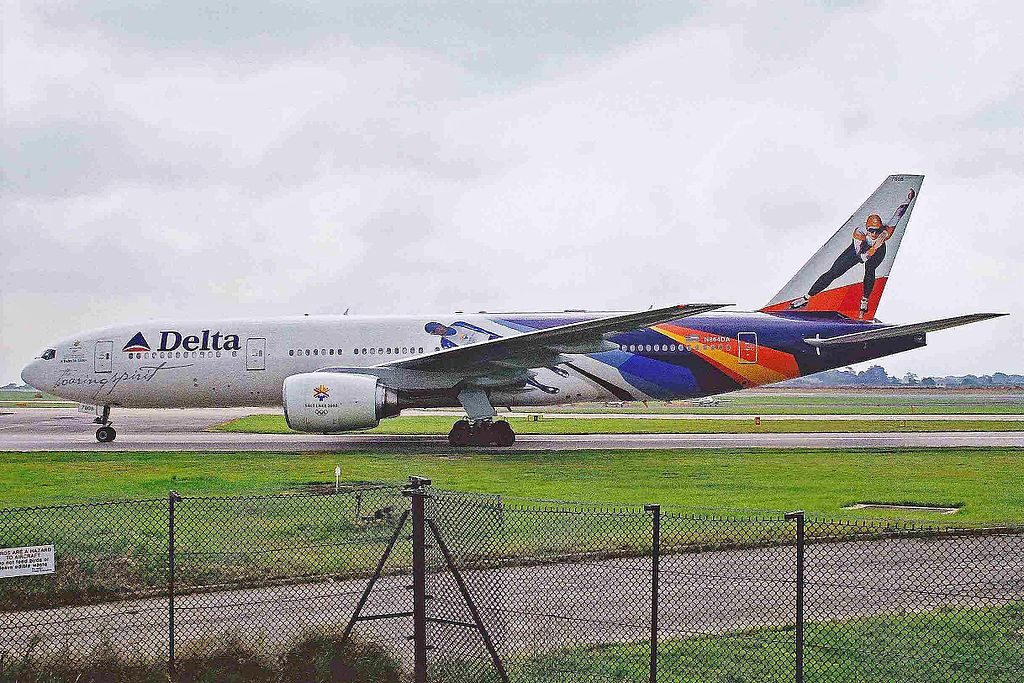 Delta Air Lines Fleet N864DA Boeing 777-232(ER) Special Livery Painting Colors 'Soaring Spirit' winter Olympics, Salt Lake City 2002 logojet at Manchester Airport