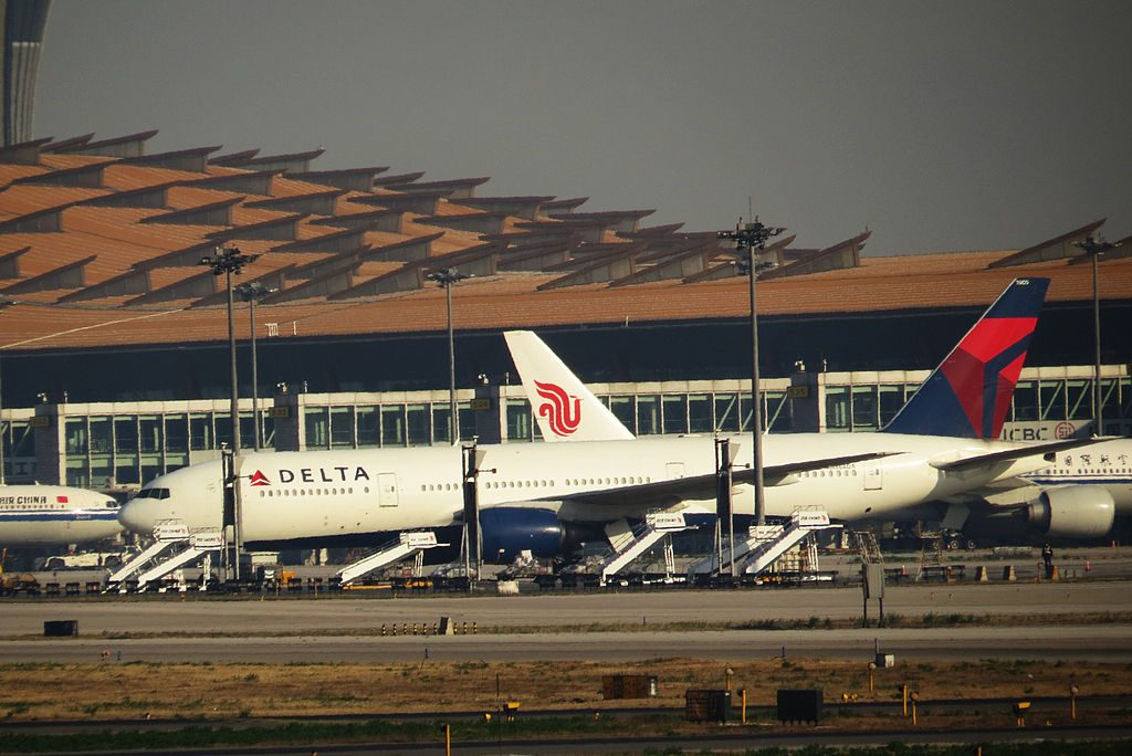 Delta Air Lines Fleet N864DA Boeing 777-232(ER) at Beijing Capital International Airport (IATA- PEK, ICAO- ZBAA)