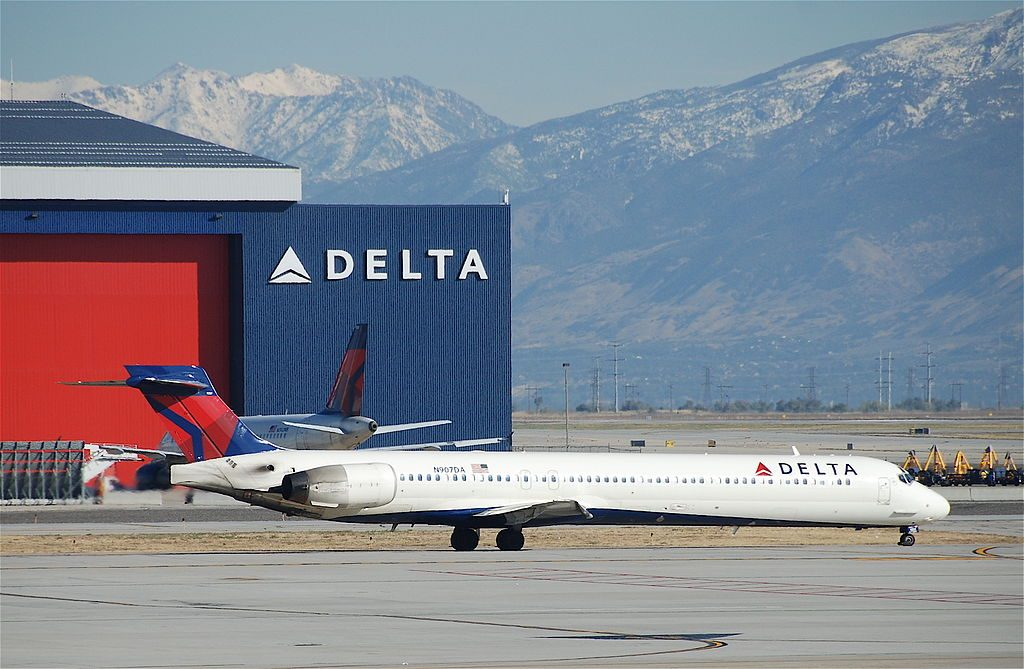 Delta Air Lines Fleet N907DA McDonnell Douglas MD-90-30 taxiing at SLC Salt Lake City International Airport