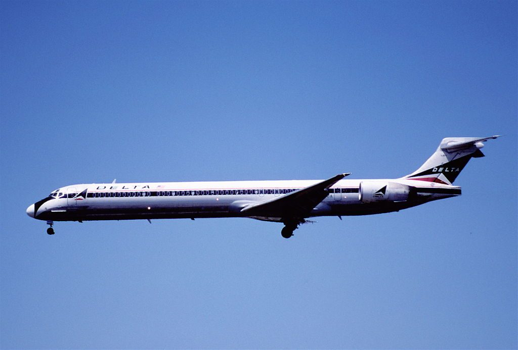 Delta Air Lines Fleet N909DA McDonnell Douglas MD-90-30 (retro livery colors) on short final before landing at LAX airport