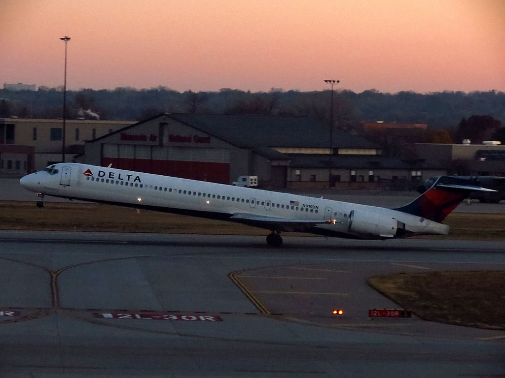 Delta Air Lines Fleet N919DN McDonnell Douglas MD-90-30 departure Minneapolis-Saint Paul International Airport