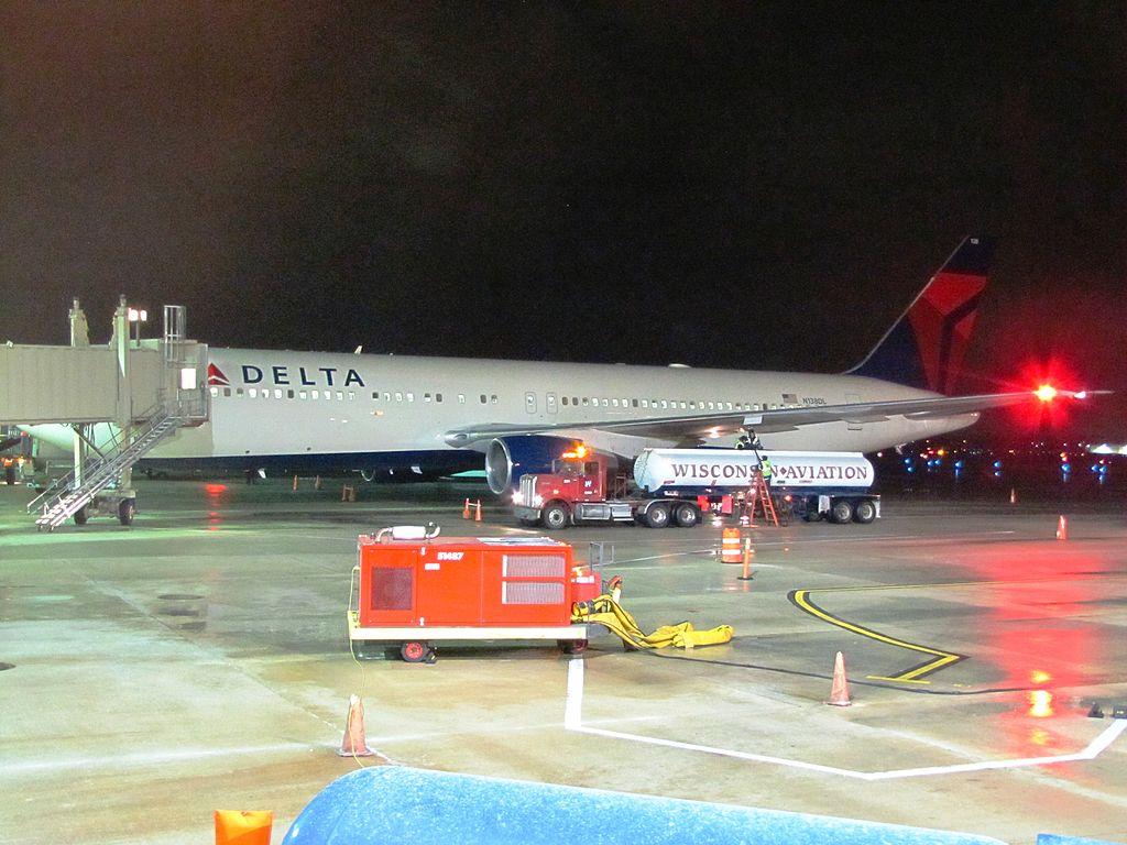 Delta Air Lines N138DL Boeing 767-300 at Boarding Gate Dane County Regional Airport