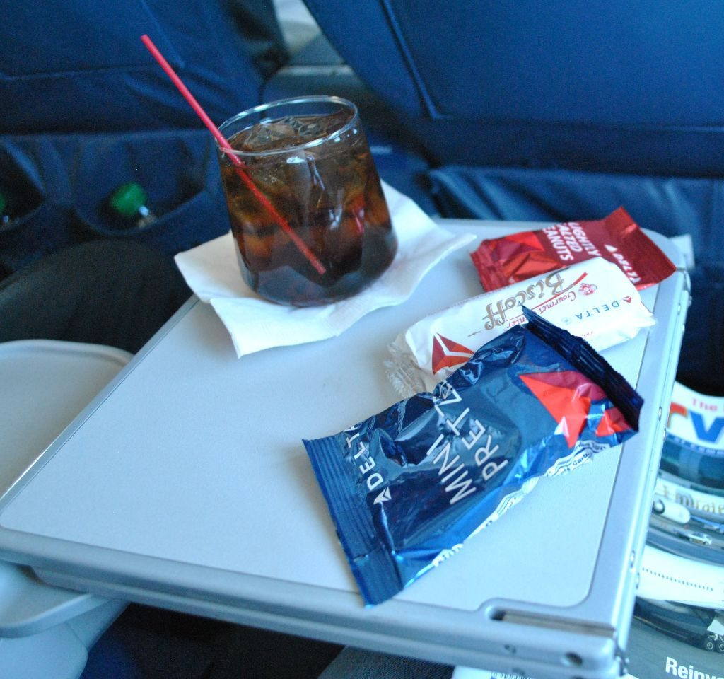 Delta Air Lines Regional Jet Fleet McDonnell Douglas MD-88 First Class cabin inflight amenities drinks and snacks services