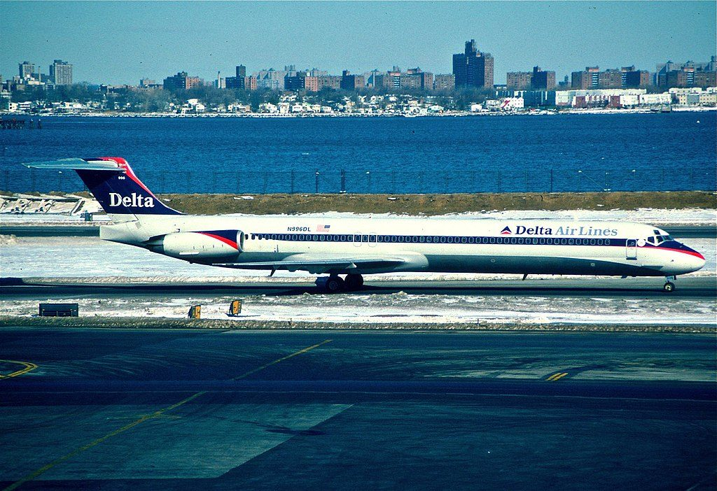 Delta Air Lines Regional Jet Fleet N953DL McDonnell Douglas MD-88 (old retro livery colors) taxiing at LaGuardia Airport (LGA)