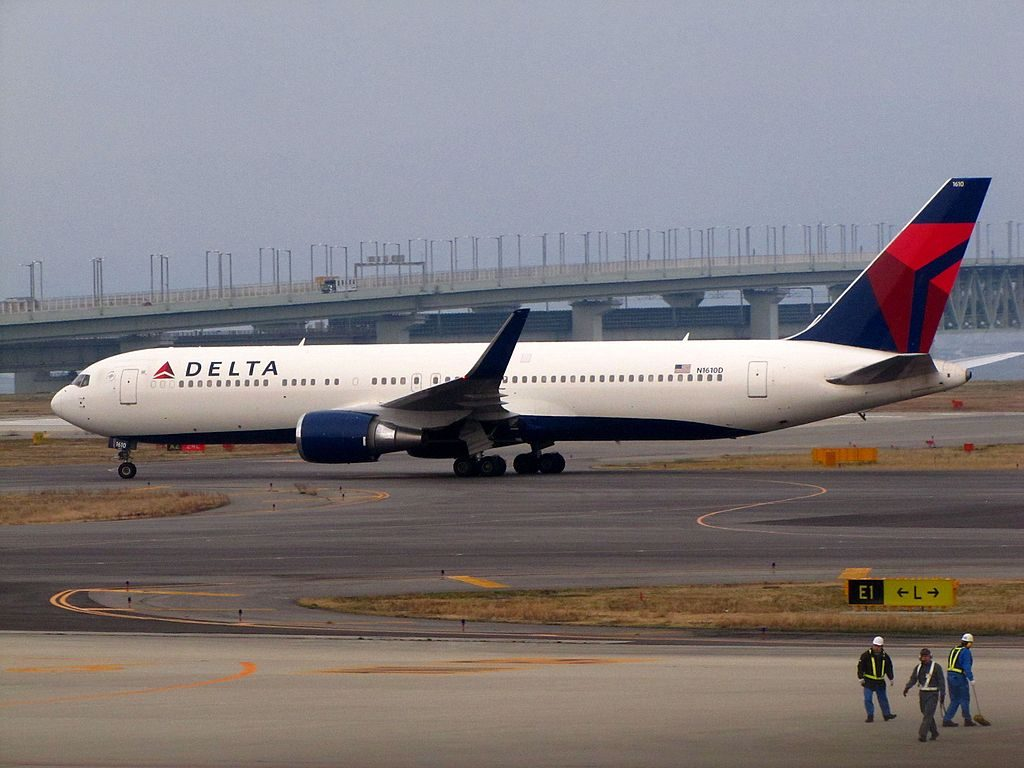 Delta Air Lines Widebody Aircraft Boeing 767-300ER at Kansai International Airport Japan