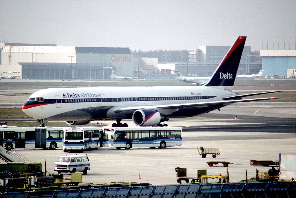 Delta Air Lines Widebody Aircraft Boeing 767-3P6ER N152DL on Retro Livery Colors @FRA Frankfurt Airport, Germany