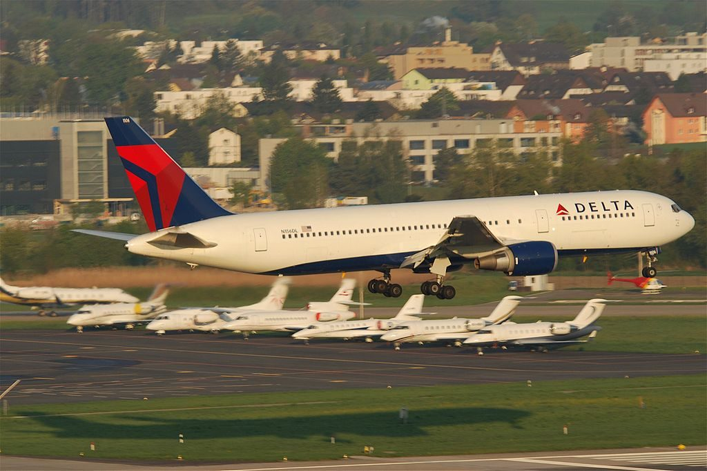 Delta Air Lines Widebody Aircraft Boeing 767-3P6ER N156DL on final approach before landing @ZRH Zurich Airport Switzerland
