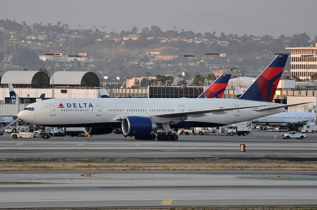Delta Air Lines Widebody Aircraft Fleet N705DN Boeing 777-200LR at LAX Airport