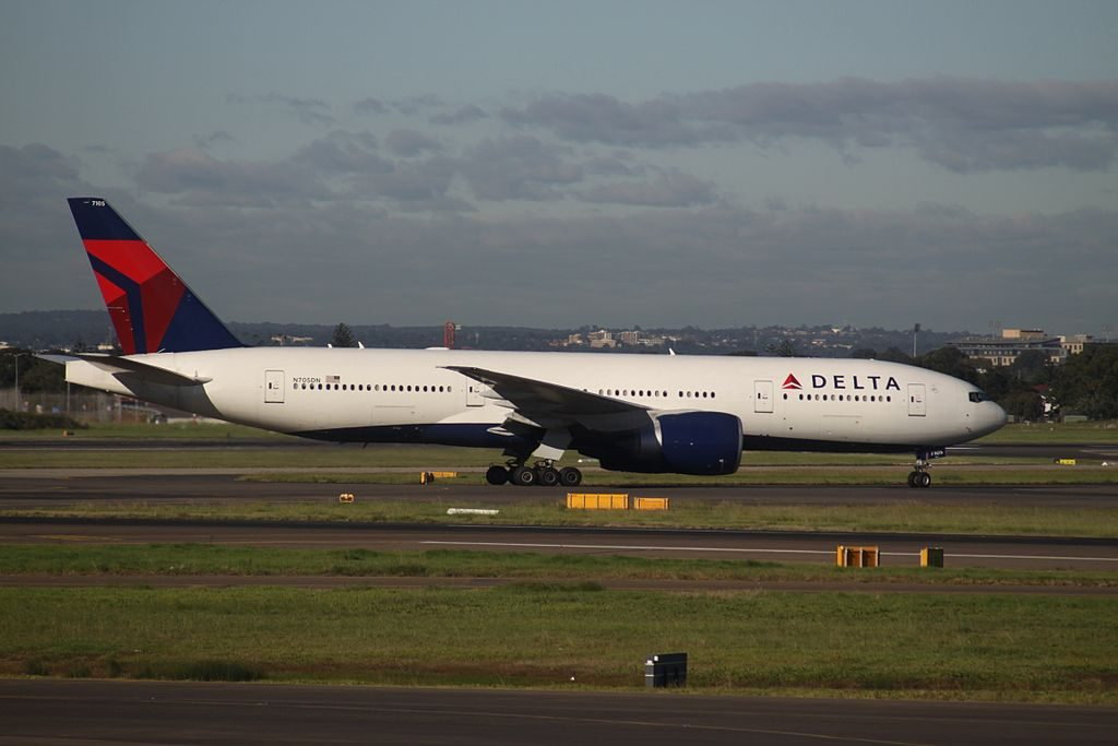 Delta Air Lines Widebody Aircraft Fleet N705DN Boeing 777-200LR at Sydney (Kingsford Smith) Airport Australia