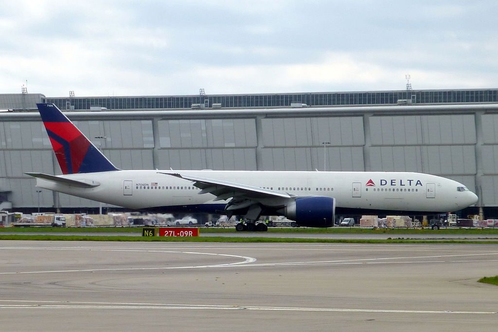 Delta Air Lines Widebody Aircraft Fleet N706DN Boeing 777-200LR at Heathrow Airport (IATA- LHR, ICAO- EGLL)