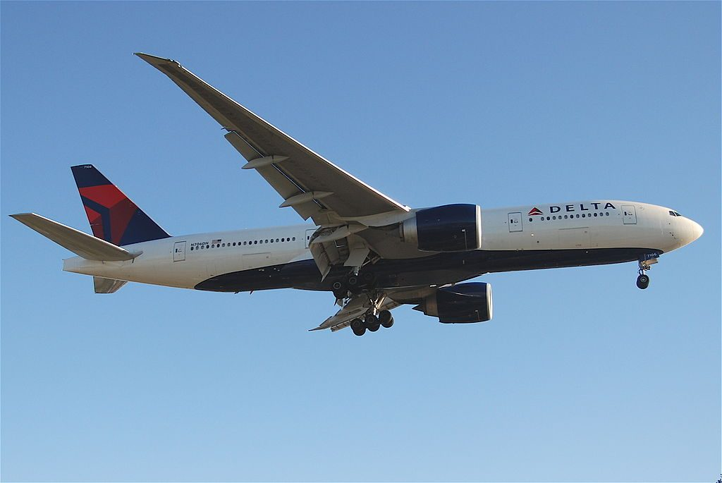 Delta Air Lines Widebody Aircraft Fleet N706DN Boeing 777-200LR on final at Los Angeles Int'l Airport - KLAX, USA - California