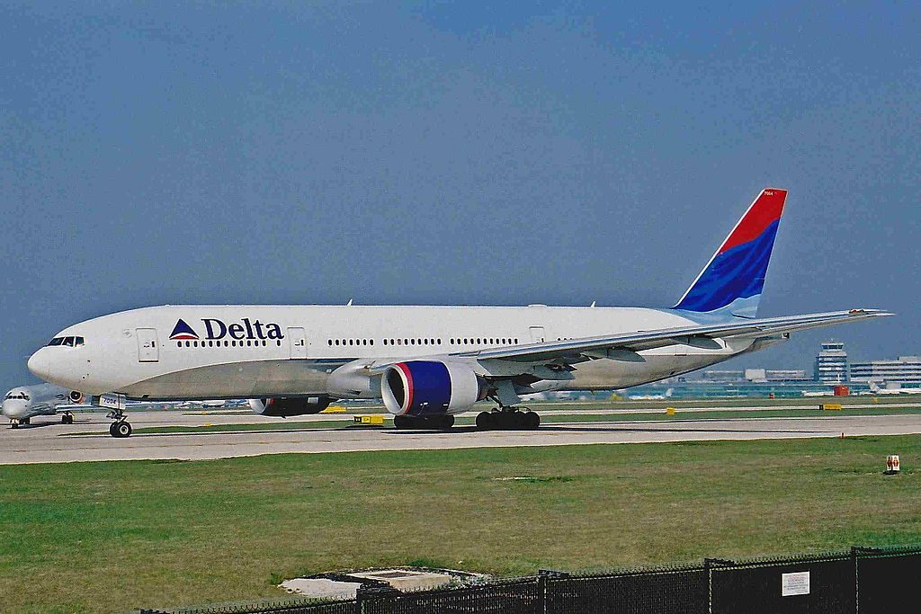 Delta Air Lines Widebody Aircraft Fleet N863DA (old retro livery colors) Boeing 777-232(ER) c:n 29735, l:n 245 at Manchester Airport