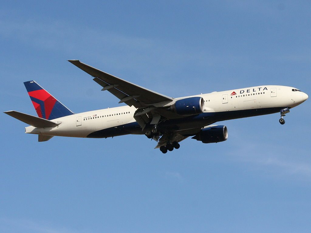 Delta Air Lines Widebody Aircraft Fleet N867DA Boeing 777-232(ER) Landing on 21 at Ben Gurion International airport Israel