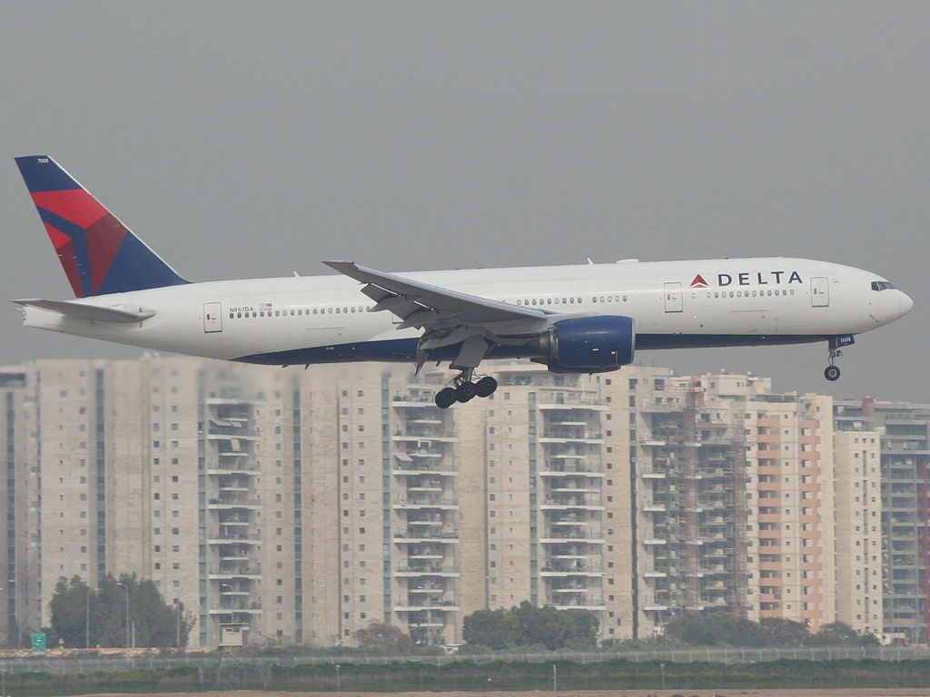 Delta Air Lines Widebody Aircraft Fleet N867DA Boeing 777-232(ER) on final at Ben Gurion International airport Israel