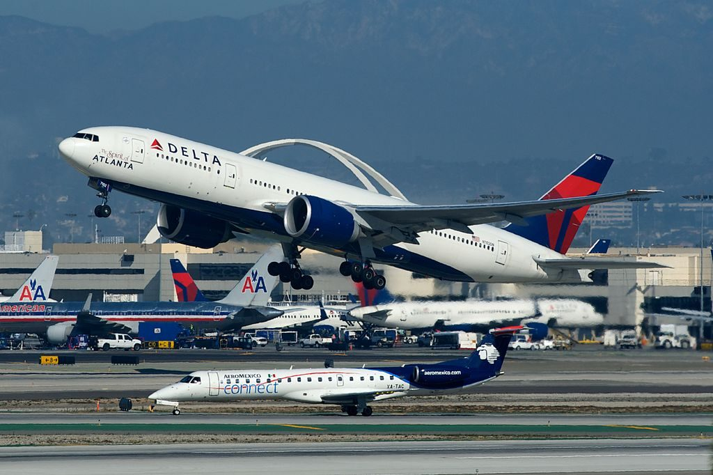Delta Airlines Fleet Boeing 777-200LR N702DN The Spirit of Atlanta Departing LAX Airport