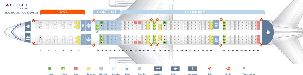 First cabin version and seats map of the Boeing 757-300(75Y) Delta Air lines