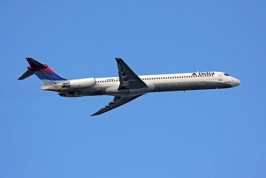 McDonnell Douglas MD-88 of Delta Air Lines Fleet N963DL Climbing after take off at Boston Logan International Airport
