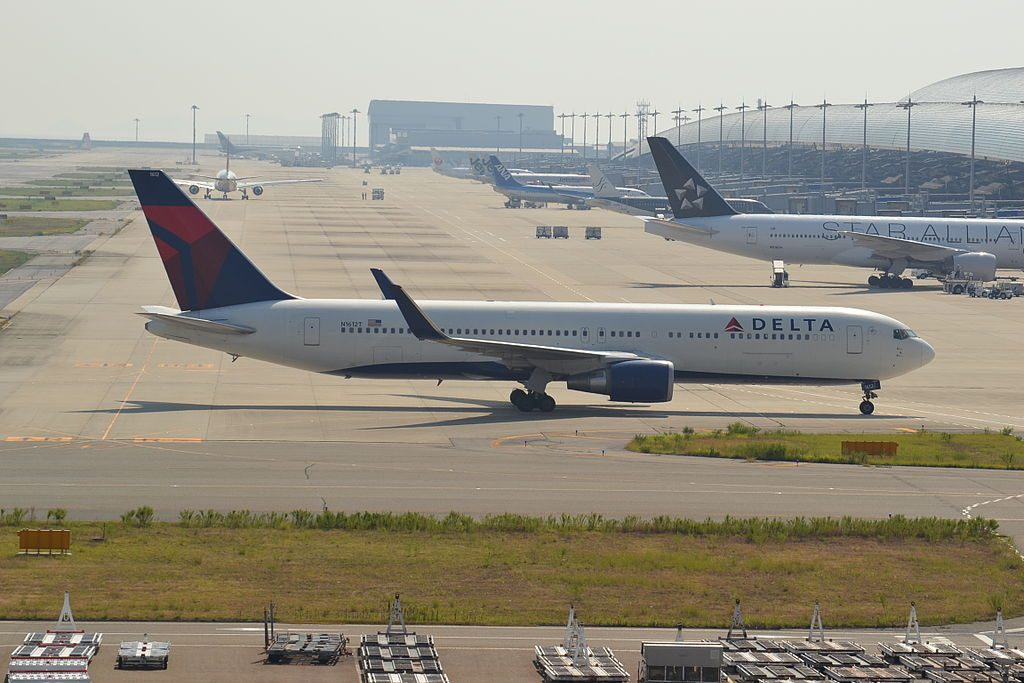 N1612T Boeing 767-300ER of Delta Airlines Fleet at Osaka Kansai-KIX,Japan