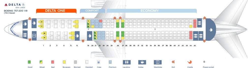 Seat Map Eighth cabin version of the Boeing 757-200 (75V) Hawaii Delta Air Lines