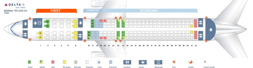 Seat Map Fifth cabin version of the Boeing 757-200 (75M) Delta Air Lines