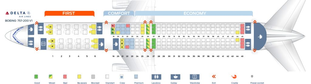 Seat Map First cabin version of the Boeing 757-200 (757:75U) Delta Air Lines