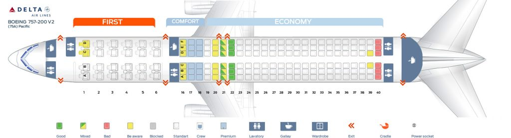 Seat Map Second cabin version of the Boeing 757-200 (75A) Pacific Delta Air Lines