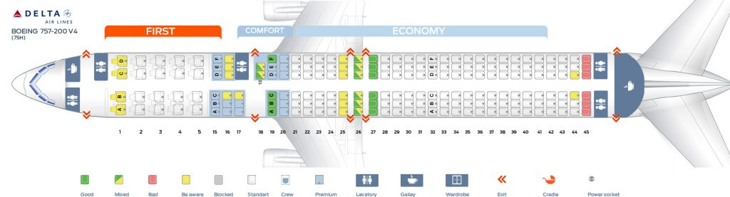 Seat Map Fourth cabin version of the Boeing 757-200 (75H) Delta Air Lines