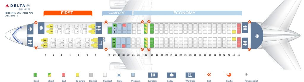 Seat Map Ninth cabin version of the Boeing 757-200 (75X) Live TV Delta Air Lines