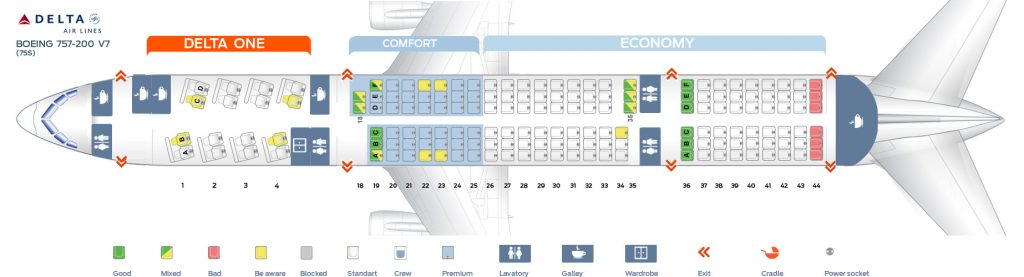 Seat Map Seventh cabin version of the Boeing 757-200 (75S) Delta Air Lines
