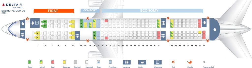 Seat Map Sixth cabin version of the Boeing 757-200 (75N) Delta Air Lines