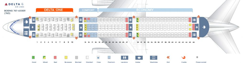 Seat map of the Boeing 767-400ER (76D) Delta Air Lines