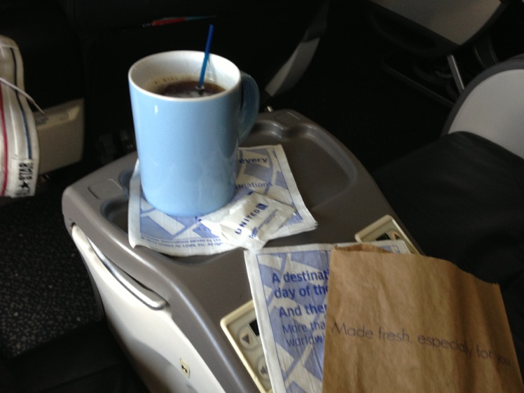 United Airlines Airbus A319-100 Business Class (Domestic First:United First) Inflight Amenities beverages warm cookies and tea services