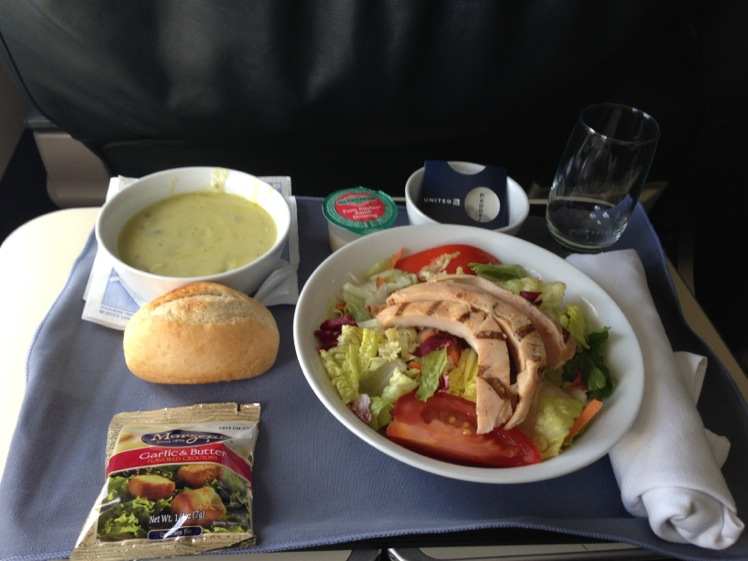 United Airlines Airbus A319-100 Business Class (Domestic First:United First) Inflight Amenities lunch consisted of asparagus soup and a chicken salad Services Photos
