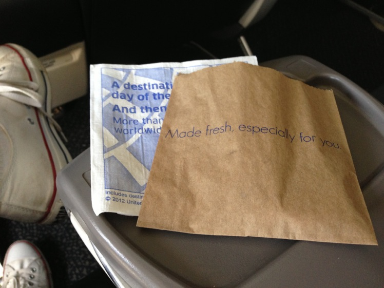United Airlines Airbus A319-100 Business Class (Domestic First:United First) Inflight Amenities warm cookies services