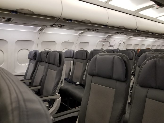 United Airlines Airbus A319-100 Economy Plus (Premium Eco) Cabin interior with 3-3 seats layout configuration