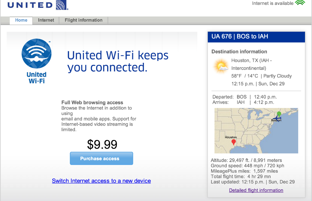 United Airlines Fleet Airbus A320-200 Main Cabin Economy Class Inflight WiFi:Internet Services Photos