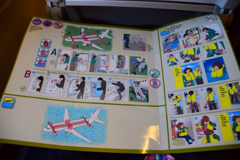 United Airlines Fleet Airbus A320-200 Main Cabin Economy Class Safety Cards Photos