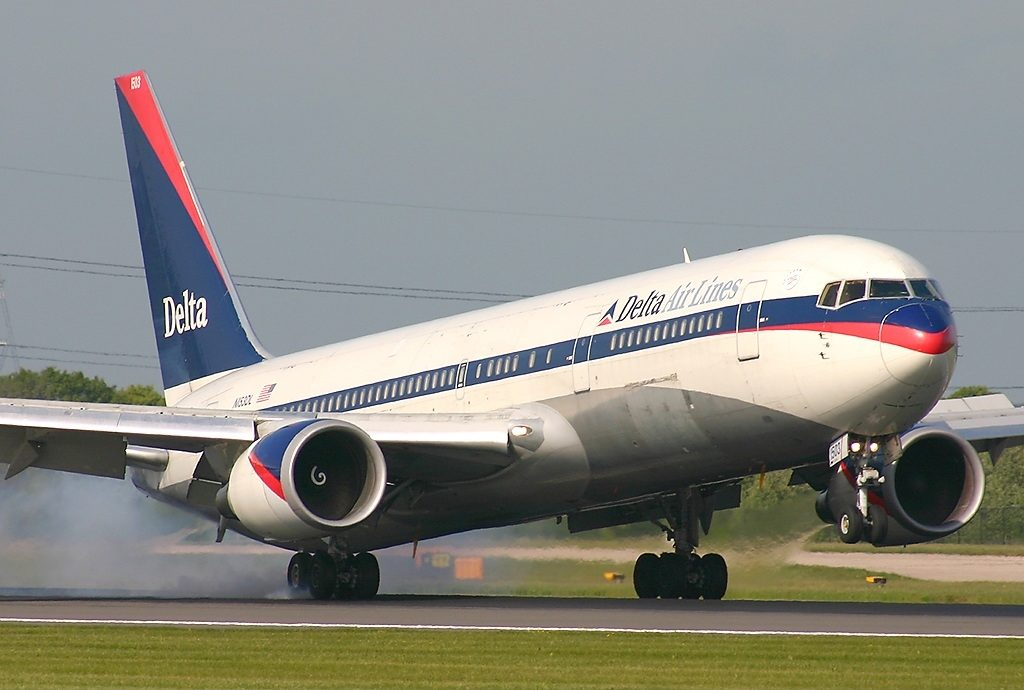 Widebody Aircraft Boeing 767-3P6(ER), Delta Air Lines Fleet on Retro Livery Colors Landing at Manchester Ringway Int'l Airport - EGCC, United Kingdom