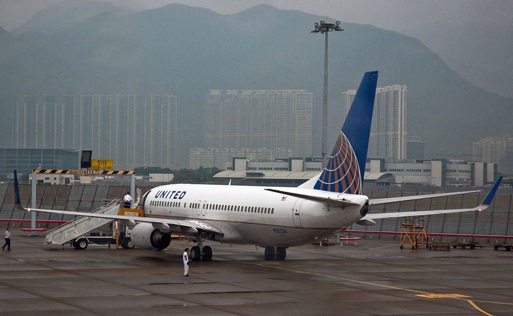 Boeing 737-800 N35236 of United Airlines in Hong Kong International Airport