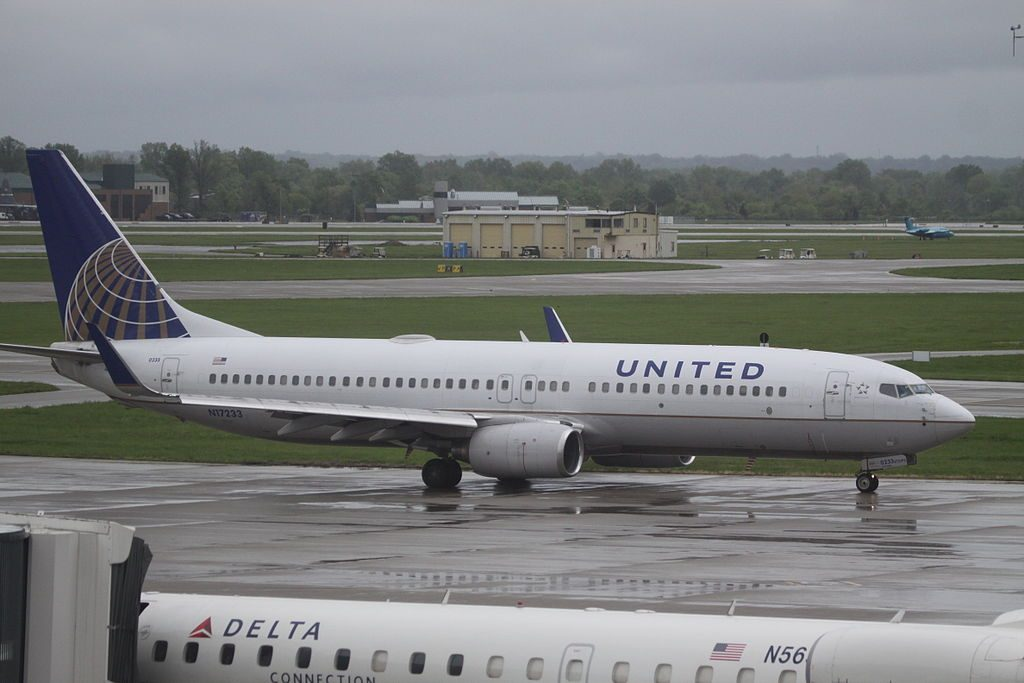 United Airlines Aircraft Fleet N17233 Boeing B.737-800WL taxiing at Louisville International Airport, KY