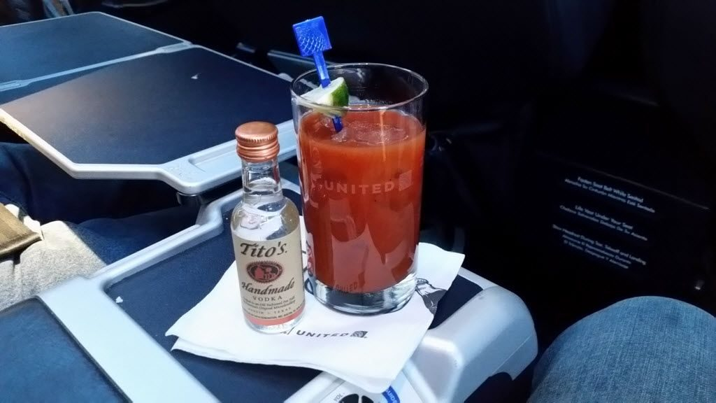 United Airlines Fleet Boeing 737-800 First Class:Business Class:United First Inflight Amenities Bloody Mary and vodka services